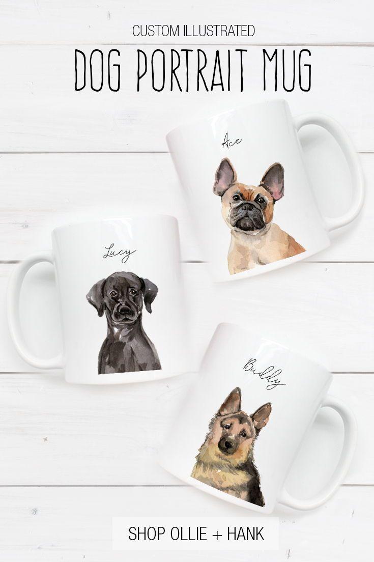 2b1ba3b1a1ce2 Custom Dog Portrait | Personalized Dog Mug in 2019 | Give A Dog A ...