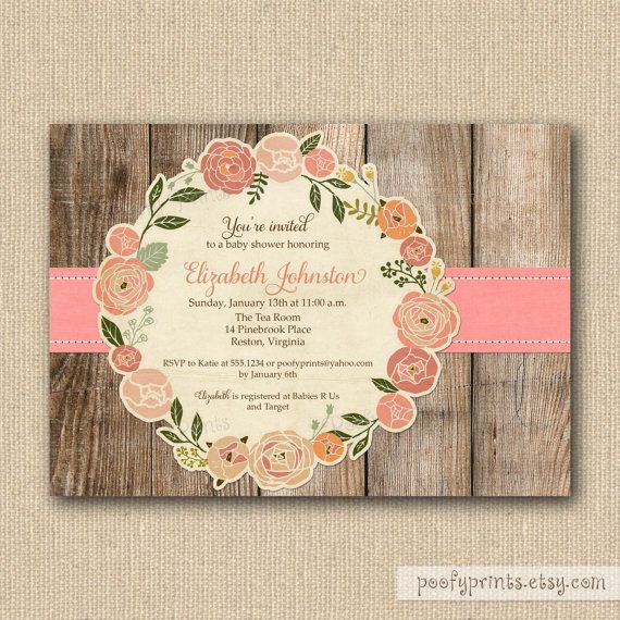 Rustic Baby Shower Invitations-beautiful! And it would be a great keepsake by modpodging it to a block of wood after.