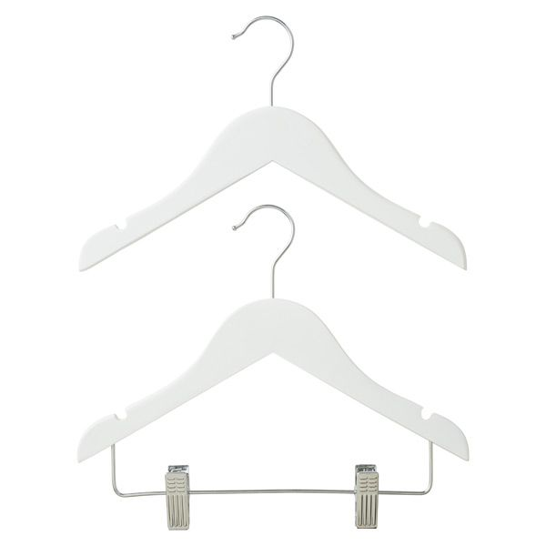 Children's White Wooden Hangers   The Container Store - $5.99 - so cute, especially if hanging clothes are visible