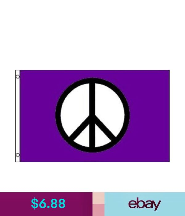 3x5 Peace Flag Purple Peace Sign Symbol Hippie Banner Party Pennant