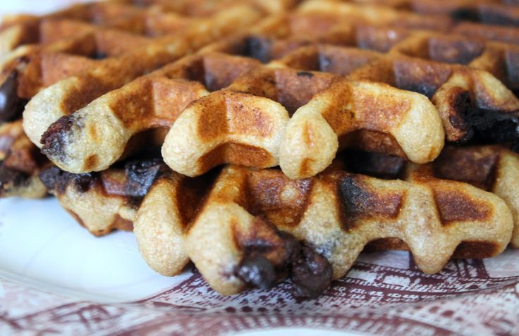 Waffles with coconut oil and choc chips