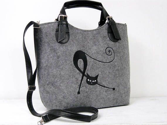 WOMEN FELT BAG   black cats  handbag  felt bag  handbag