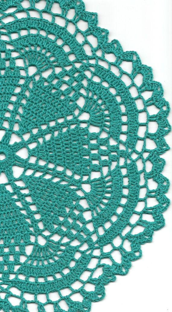 Christmas gift, Crochet doily, lace doilies, eco friendly, crocheted doilie, linen doily, hand made, table runner, napkin, Teal via Etsy