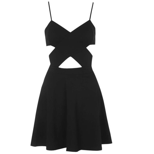 TOPSHOP **Cut-Out Skater Dress by WYLDR (£42) ❤ liked on Polyvore featuring dresses, vestidos, short dresses, black, black dress, black cutout dress, black wrap dress and black fit and flare dress