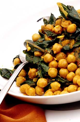 tunisian chickpeas with silverbeet