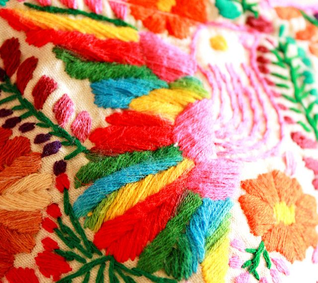 Embroidered mexican textile folk art pinterest