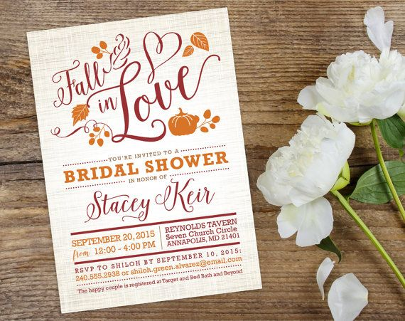 Fall in Love Bridal Shower Invite - Custom Personalized Printable Invitation Design - Autumn Wedding Shower with Pumpkins and Leaves Falling from The Inked Leaf on Etsy