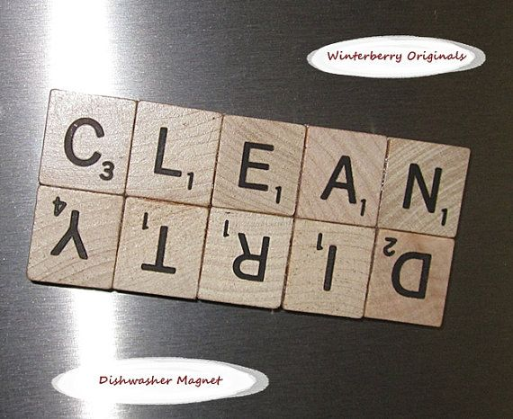 Scrabble Dishwasher Magnet  --  CLEAN/DIRTY