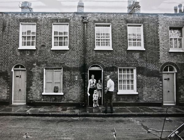 Ormsby St before demolition, 1978 – note the photographer's blackboard on the window ledge. (City of London, London Metropolitan Archives)