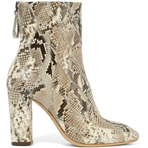 ALEXANDRE BIRMAN   Python ankle boots ($495) ❤ liked on Polyvore featuring shoes, boots, ankle booties, zipper booties, ankle boots, zipper bootie, dark brown boots and zip boots
