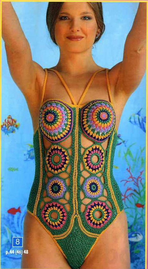 I adore this retro crochet design on a swimsuit featured over on the Crochet by Jane blog