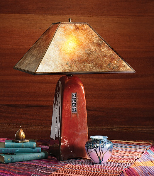 """Russet Lamp with Mica Shade""  Ceramic Lamp    Created by Jim Webb: Ceramics Lamps, Ceramic Lamps, Russet Lamps, Lamps Create, Tables Lamps"