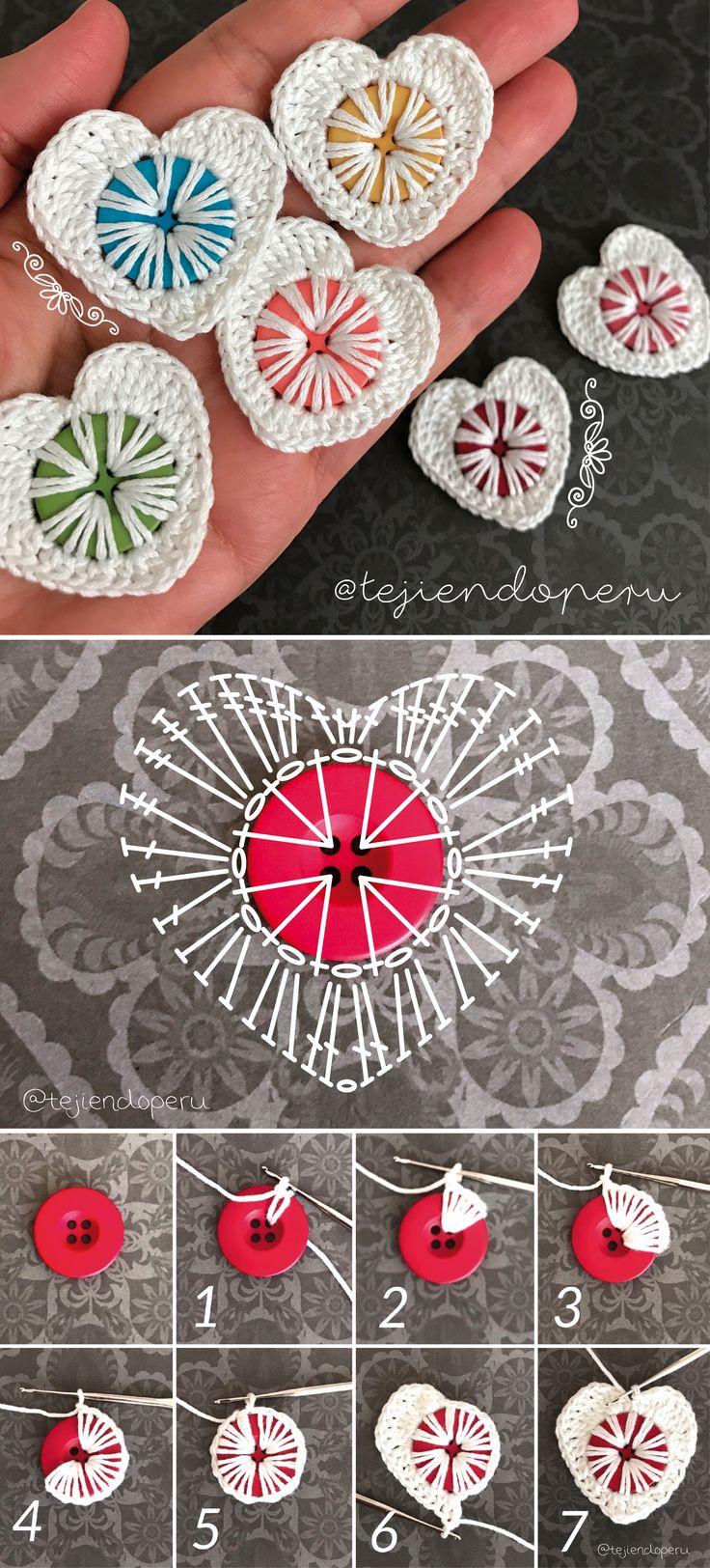 Crochet button hearts <3 Valentine's crochet! Corazones tejidos a crochet en un botón! (Diy Ornaments Gifts)
