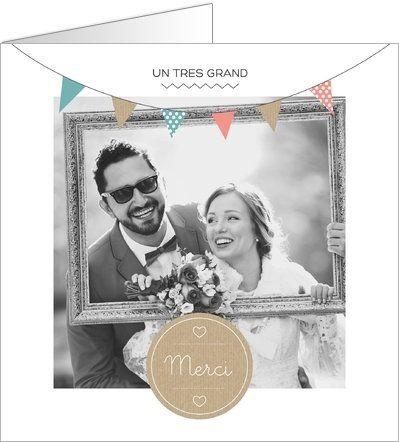 carte de remerciement mariage vintage disponible en 4 formats et personnaliser sur popcarte - Remerciement Mariage Personne Absente