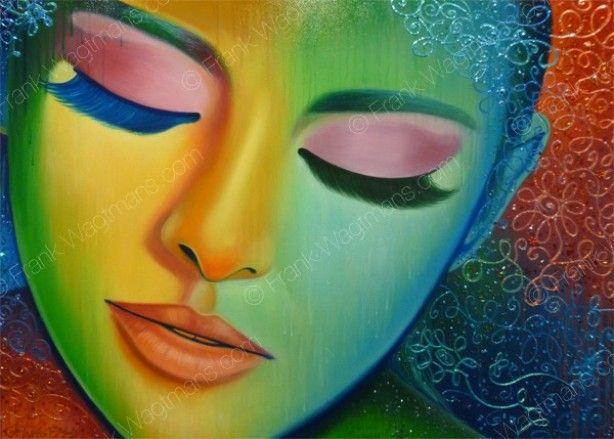 Prachtig romantisch en kleurrijk schilderij. Portret geschilderd in regenboog kleurenpalet: rood, oranje, geel, groen, blauw, indigo, violet. Een echte blikvanger!!!!
