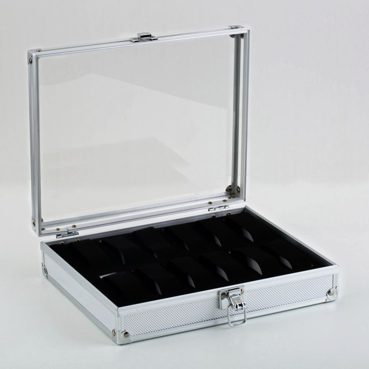 Professional 12 Grid Slots Jewelry Watches Display Storage Square Box Case Aluminium Suede Inside Container Jewelry Organizer