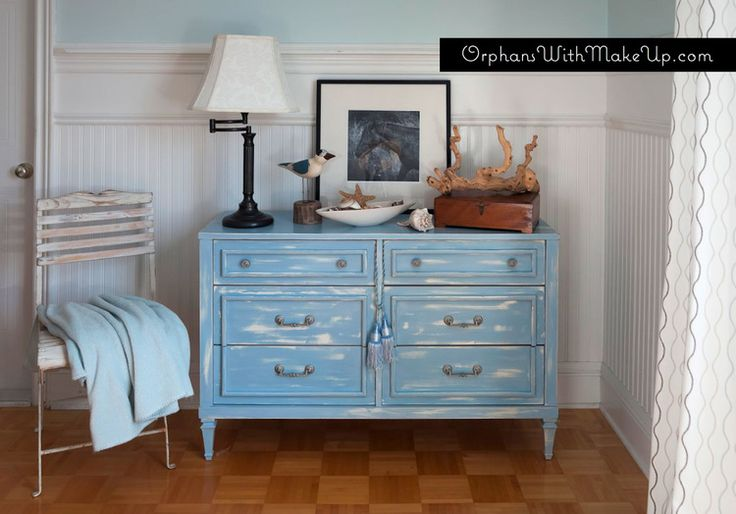 Beachy-Blue Inspired Dresser Re-Do by {Orphans with Make-Up} #BeachyDresser #BeachyBlue #PaintedFurniture