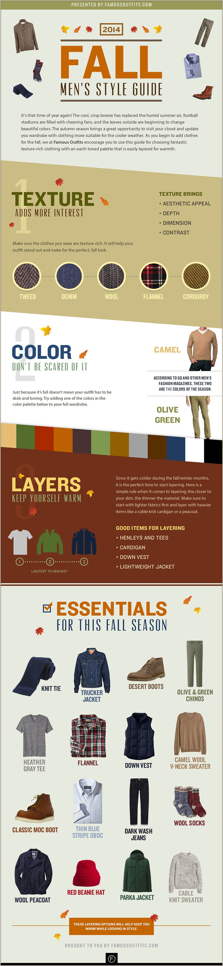 2014 Fall Men's Style Guide - The Fall Style Guide is an interactive lookbook of some of our favorite seasonal clothes. From clothing texture, color, and layering, you'll see why we think fall is the best time to update your wardrobe. Enjoy! #mensfashion