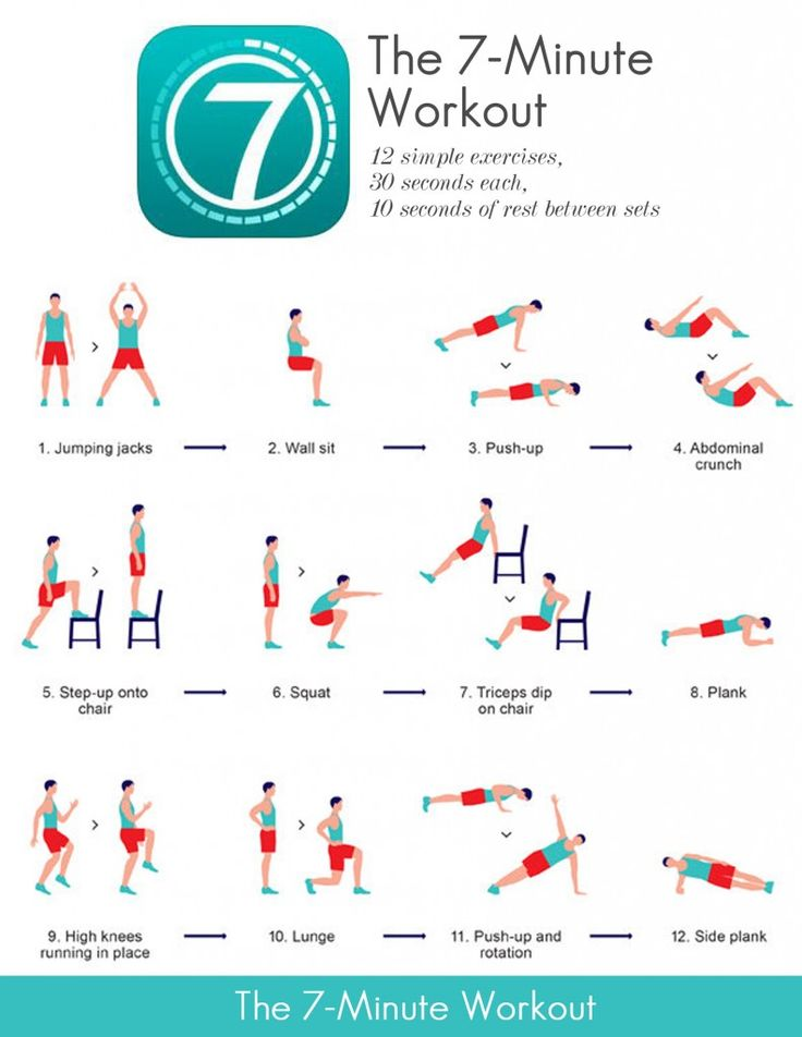 Seven-minute Workout |  12 simple exercises, 30 seconds each, 10 seconds of rest between sets