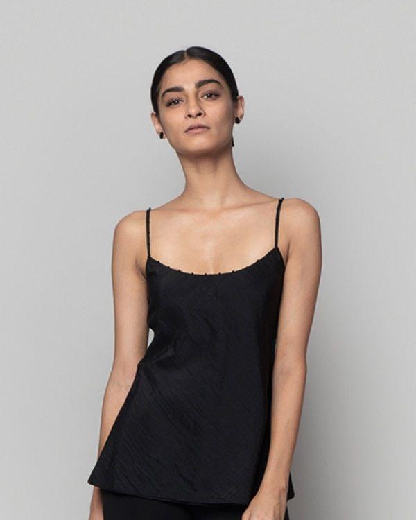 NICOBAR Silk Camisole - Black