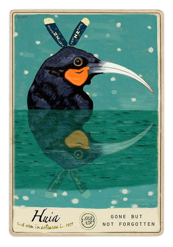 The Huia - Gone but not forgotten...by Marika Jones. Art-prints and cards available from www.imagevault.co.nz