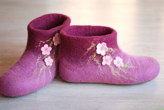 Wool shoes/ felted home slippers MADE TO ORDER any by zavesfelt, $73.00