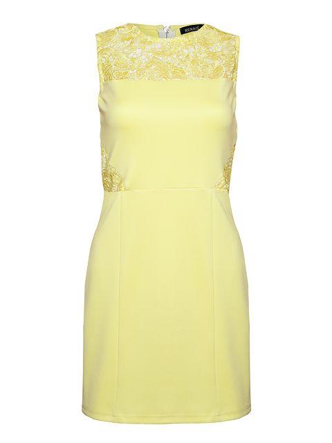 Dopasowana, krótka sukienka w żywym kolorze ozdobiona koronkowymi wstawkami.