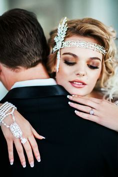 Great Gatsby Wedding Headpiece with Rhinestones and Pearls