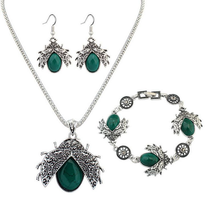 Find More Jewelry Sets Information about 2017 Zenper Fashion ladybug jewelry sets Retro fashion imitation turquoise jewelry three piece bracelet earrings necklace L58,High Quality necklace with earring,China earring bridal Suppliers, Cheap earring necklace set from Yiwu zenper accessories crafts co.,ltd  on Aliexpress.com