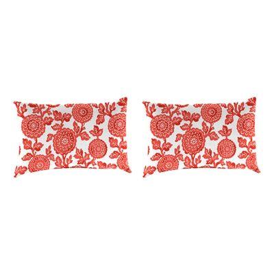 Jordan Manufacturing 9965PK2-3792D Mums Indian Coral Rectangular Toss Pillow (Set of 2)