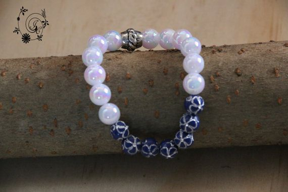 White Acrylic Beads and Blue beads with by DelightGalleryCrafts