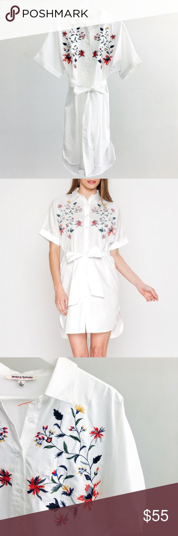 White Floral Embroidered Shirt Dress White short sleeve shirt dress with floral embroidered print, shirttail hem, and self-tie waist. 65% cotton 35% rayon. Brand new. Please carefully review each photo before purchase as they are the best descriptors of the item. My price is firm. No trades. First come, first served. Thank you! :) Dresses
