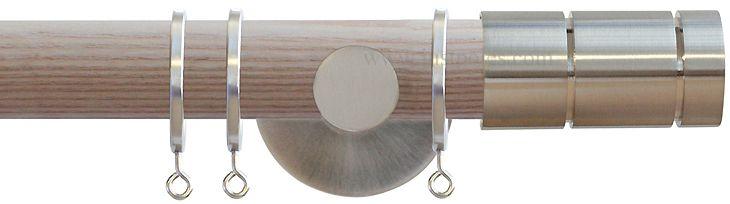 Jones Strand 35mm Wood Curtain Pole Natural, Matt Nickel Cylinder 35mm - scenario 5