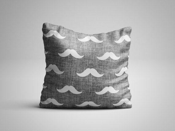 Mustache Throw Pillow - Hipster Pattern Pillow with insert - Seamless Pattern Decorative Pillow - Scandinavian Hipster Decor