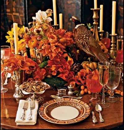 Formal Imari China by Royal Crown Derby sets the tone for a grand occasion, but scattered miniature pumpkins, kumquats, and loosely arranged flowers keep the mood  easy. #thanksgiving