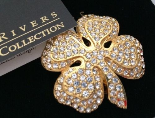 Very-Rare-JOAN-RIVERS-SPARKLY-PAVE-CLEAR-CRYSTAL-SHAMROCK-CLOVER-LEAF-Brooch