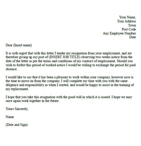 Two-Week Resignation Letter Samples Formal resignation letter - 2 weeks notice letter format
