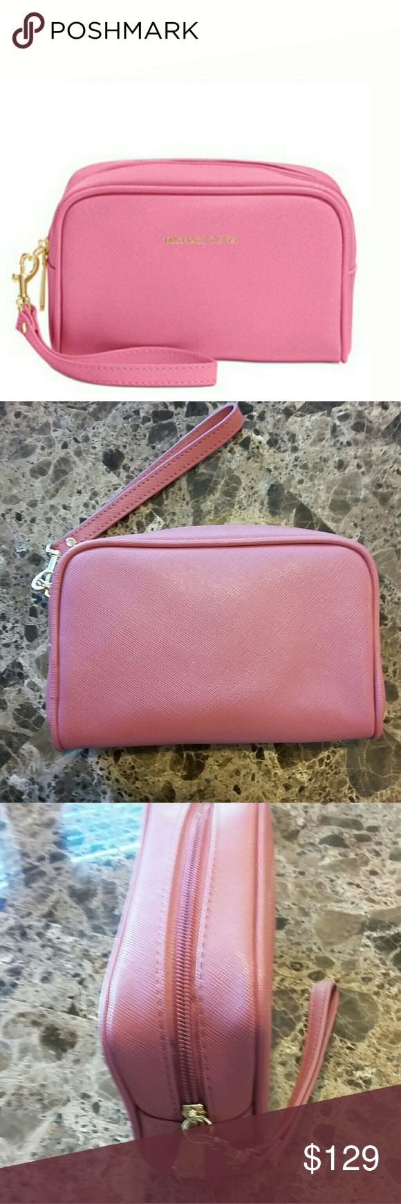 """🆕Michael Kors Saffiano Signature Travel Wristlet This brand new authentic streamlined wristlet keeps essential cards, cash, and ID within easy reach. Interior slip pocket. Zip closure. Lined. Detachable strap. Material: leather. Approximate measurements: 5""""h x 7.5""""l x 2.5""""w. No hang tag, shipped in upc-coded original packaging. Michael Kors Bags Clutches & Wristlets"""