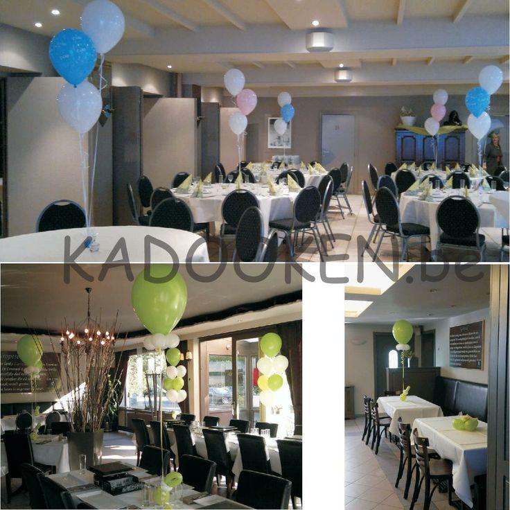 feestzaaldecoratie babyborrel, aankleding babyborrel, doopfeest, geboorte, ballonnen, ballons, heliumballonnen,... www.kadooken.be