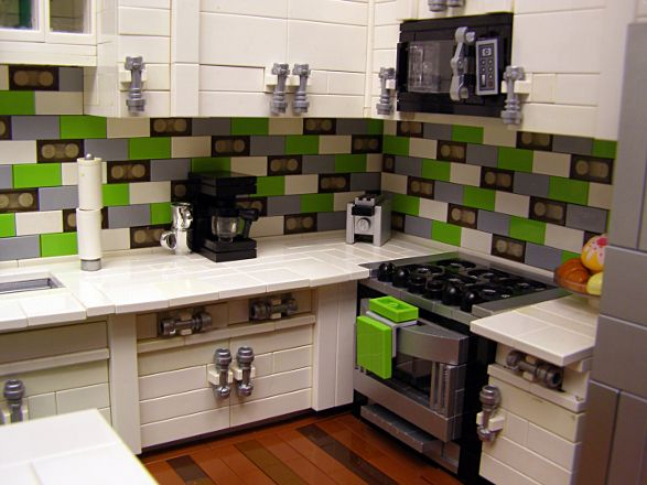 modern kitchen made of lego bricks - built by Legohaulic. | via housology.com