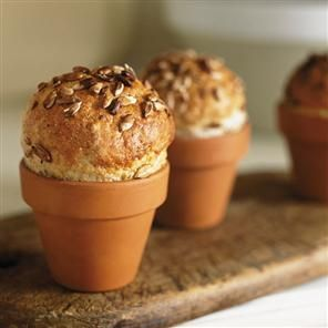 Sunflower and honey rolls baked in pots! Adorable. | Delicious magazine