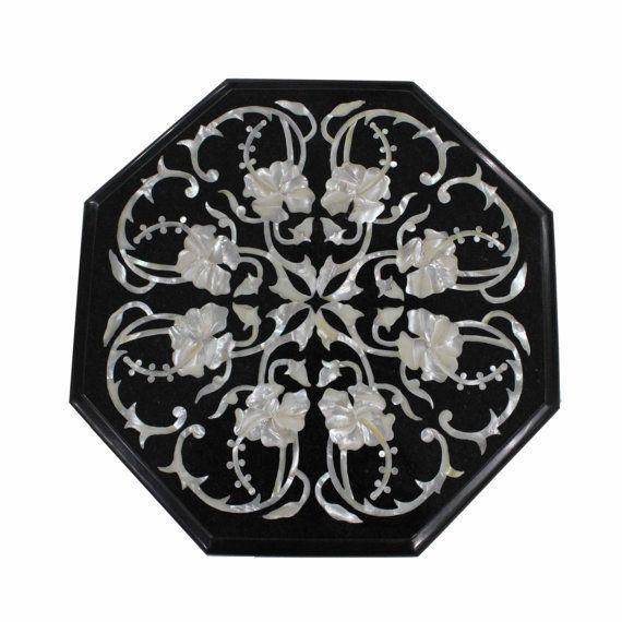 Hermosa mano con incrustaciones de mármol Negro floral pieza