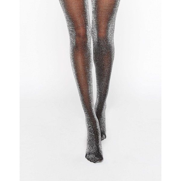 Monki Glitter Tights ($13) ❤ liked on Polyvore featuring intimates, hosiery, tights, silver, metallic silver tights, glitter pantyhose, monki, silver stockings and high waisted tights