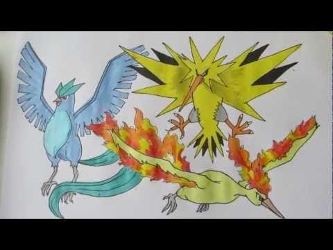 How to draw Pokemon: Legendary Birds No.144 Articuno, No.145 Zapdos, No.146 Moltres - YouTube