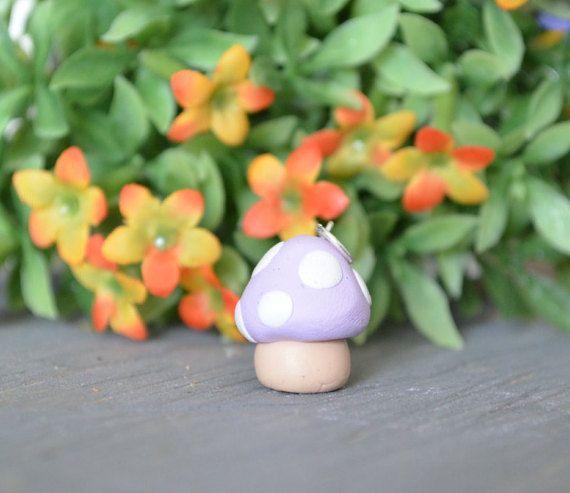 Light Purple Mushroom Charm, Miniature Mushroom Charm, Polymer Clay Mushroom