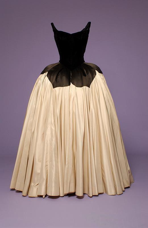 """Petal"" Ballgown    Black velvet and silk satin, 1951"