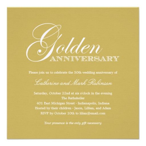 50th Wedding Anniversary Quotes: Golden Wedding Anniversary Invitation