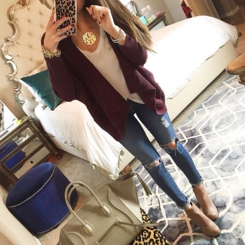 maroon cardigan + white tank+ distressed jeans + beige ankle boots imc