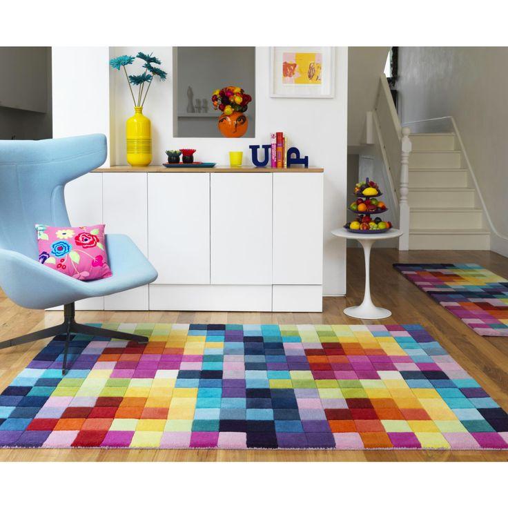 Geometric Multi Squares Wool Rug - Funk In 2019