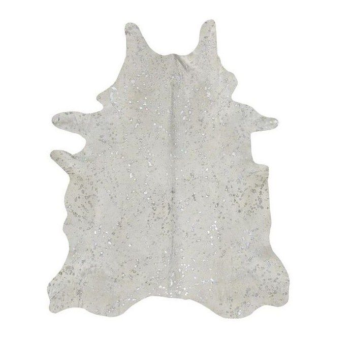 Alfombra Piel de Vaca Acid Wash Plata TI-605 Acid Burnt Cow Skin Rug - Pearl/Silver